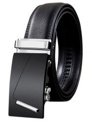 Metal Bar Decorated Automatic Buckle Faux Leather Belt -