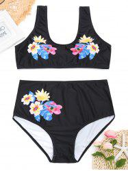 High Waisted Floral Plus Size Bikini Set -