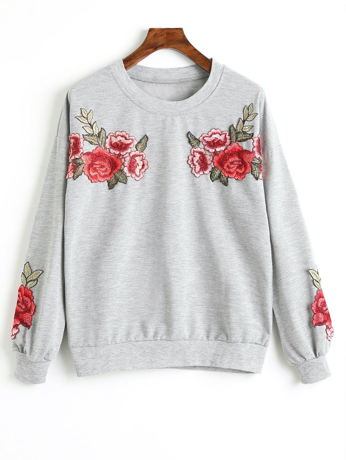 Unique Drop Shoulder Flower Appliques Sweatshirt