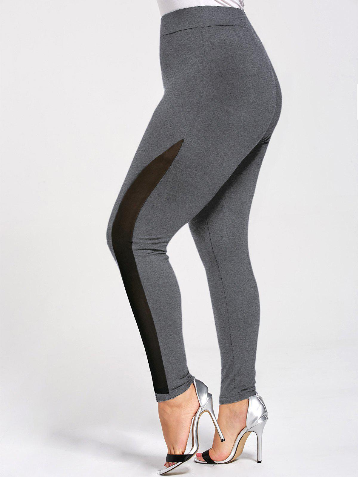 Trendy Plus Size Skinny Mesh Panel Leggings