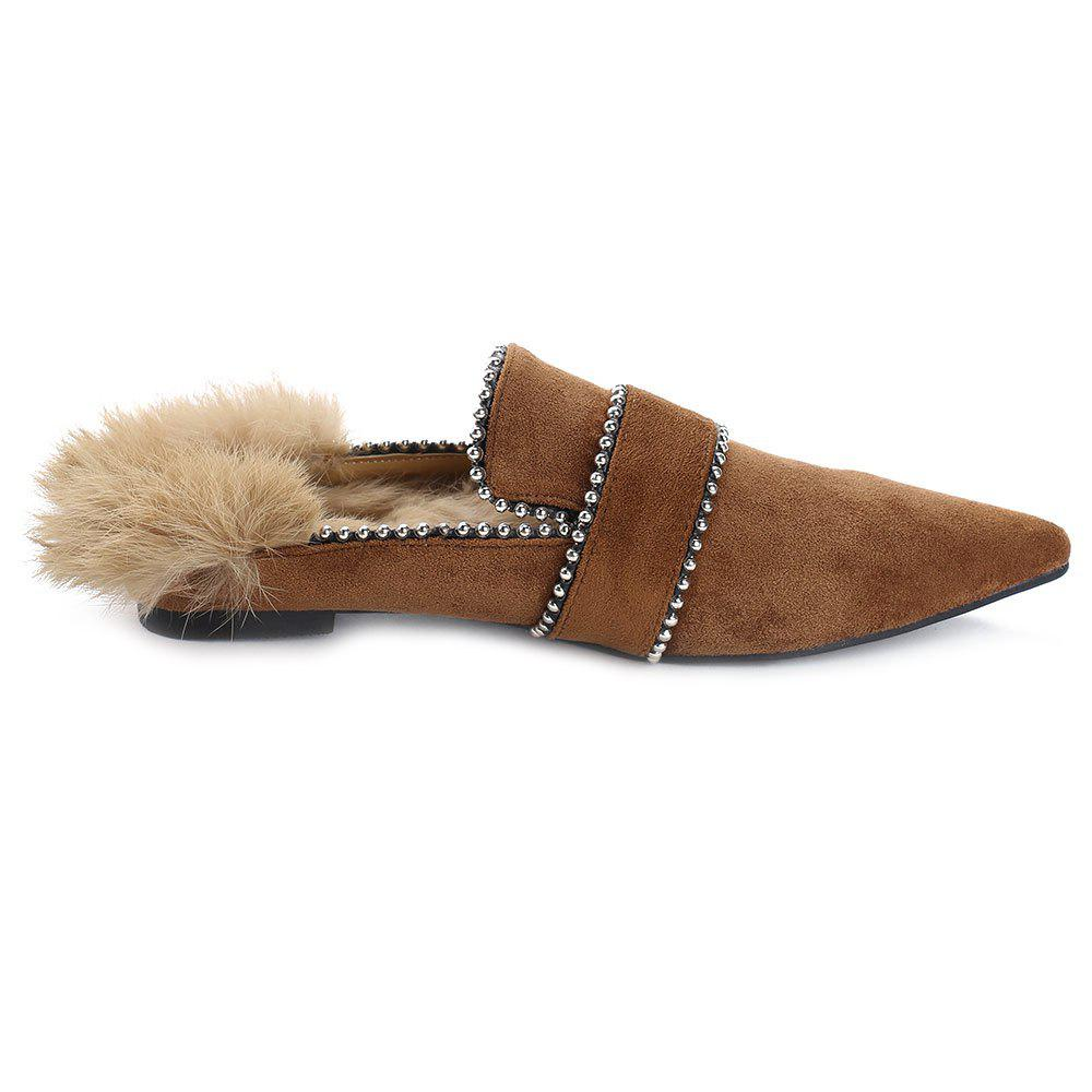 Outfits Faux Fur Pointed Toe Outdoor Slippers