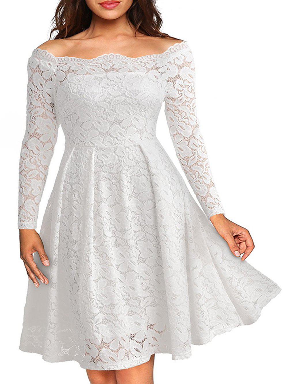 Fashion Long Sleeve Off The Shoulder Lace Dress