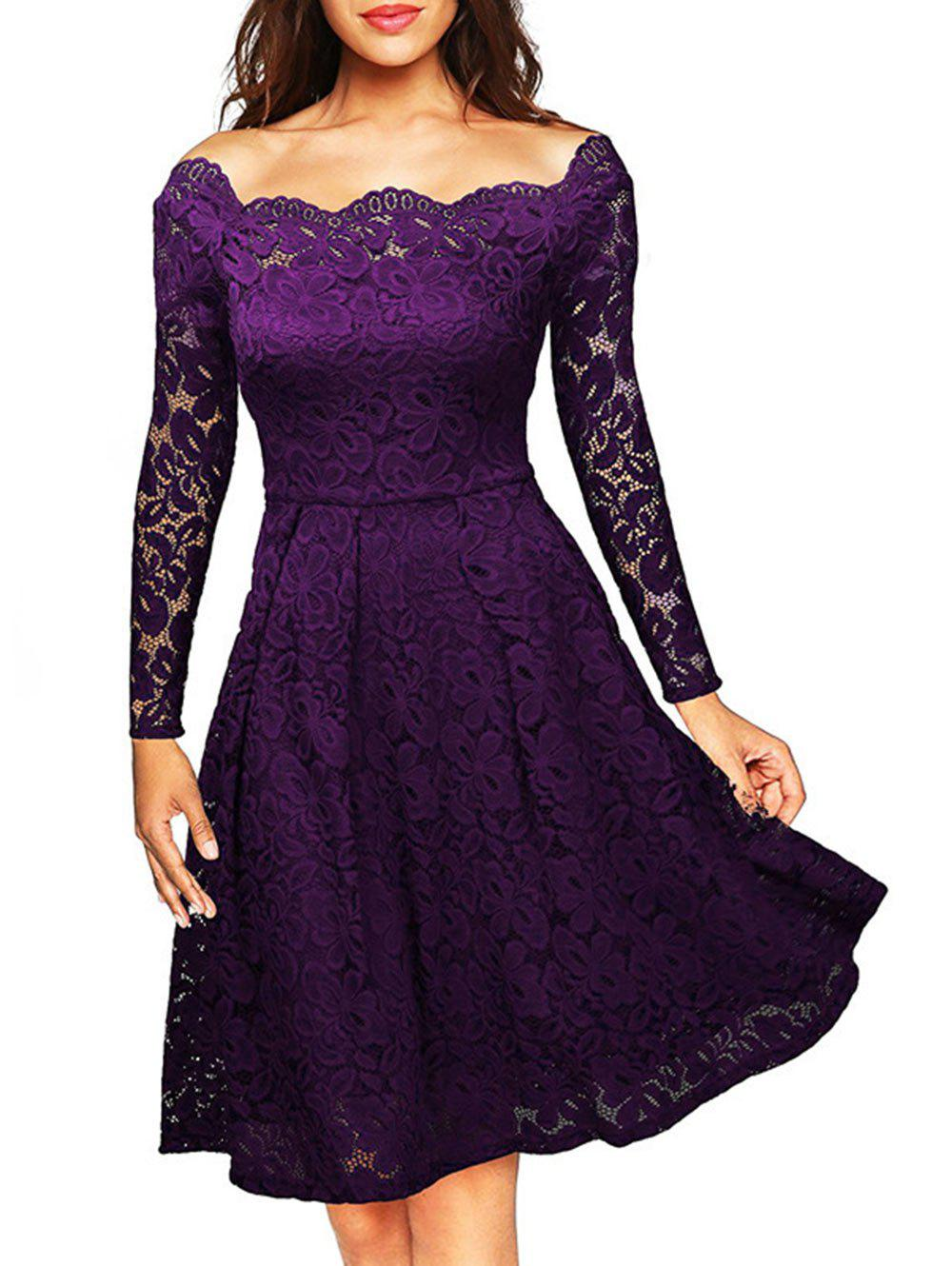 Hot Long Sleeve Off The Shoulder Lace Dress