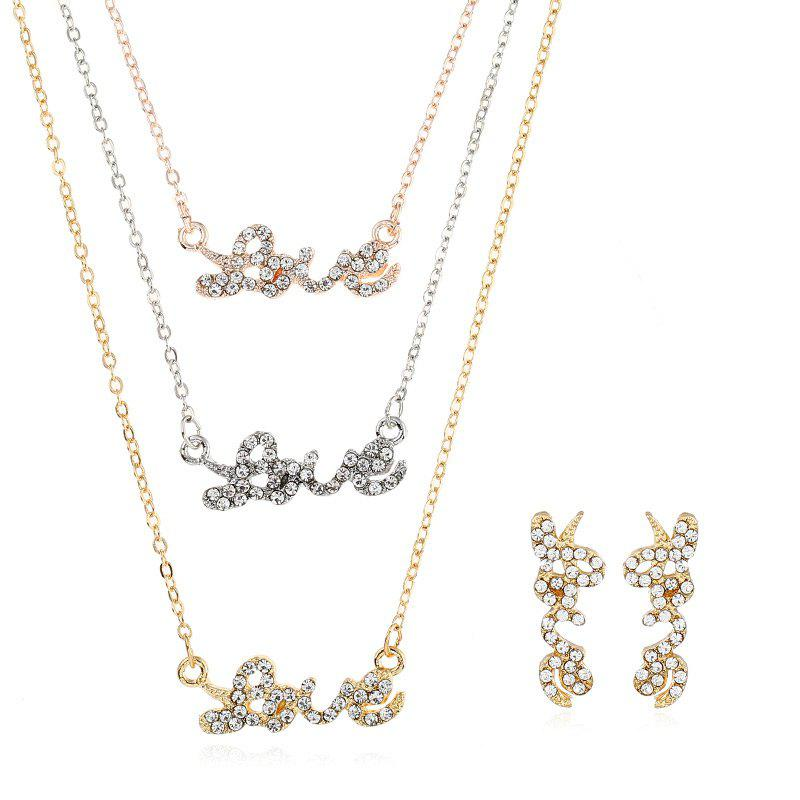Sale Faux Diamond Embedded Love Layered  Jewelry Set