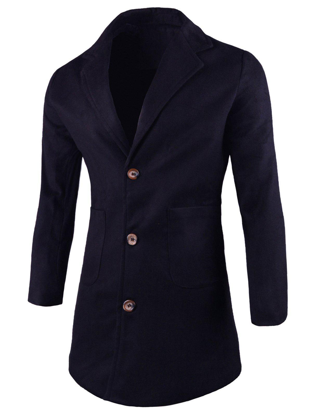 Store Front Pocket Lapel Wool Blend Coat