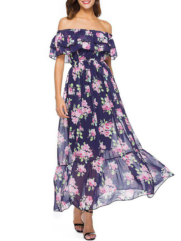 Shops Off The Shoulder Floral Print Bohemian Dress