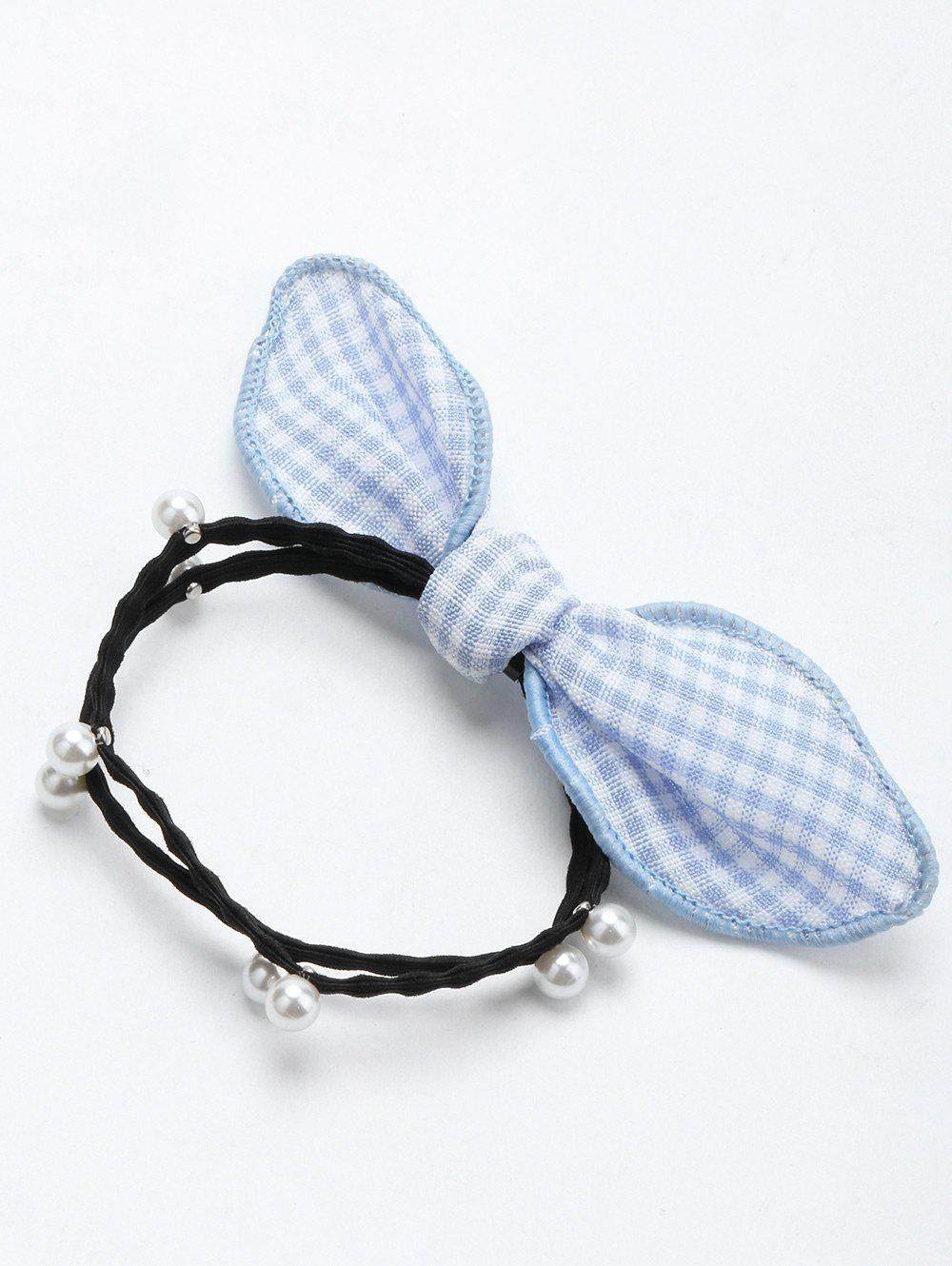 Unique Faux Pearl Bowknot Elastic Hair Band