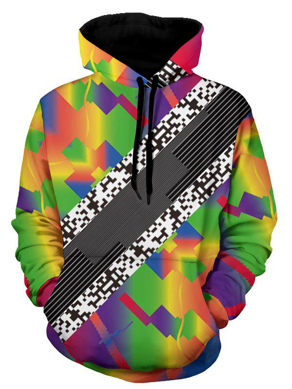 New Kangaroo Pocket Pullover Colorful Geometric Hoodie