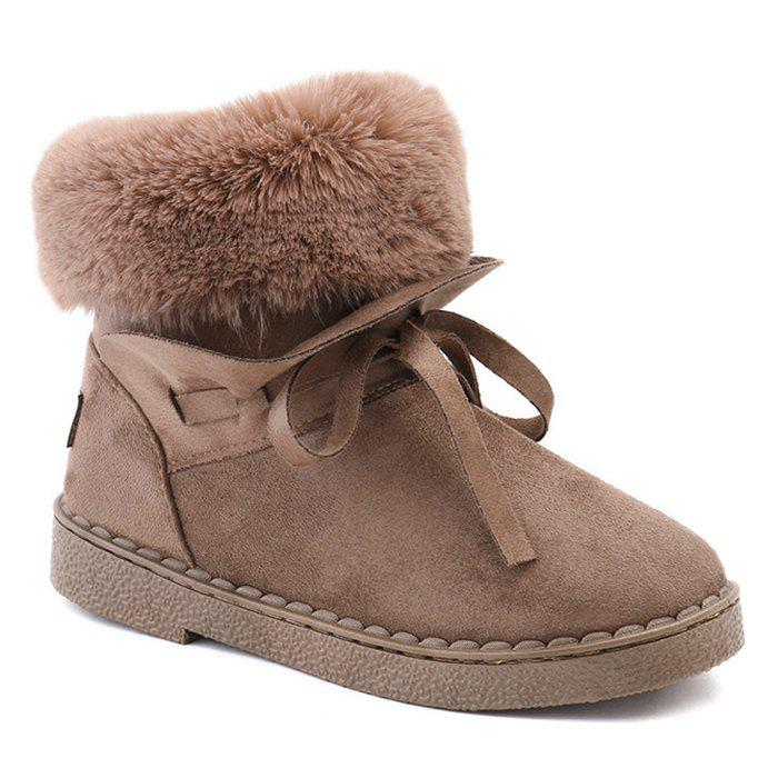 Store Whipstitching Low Heel Bowknot Snow Boots