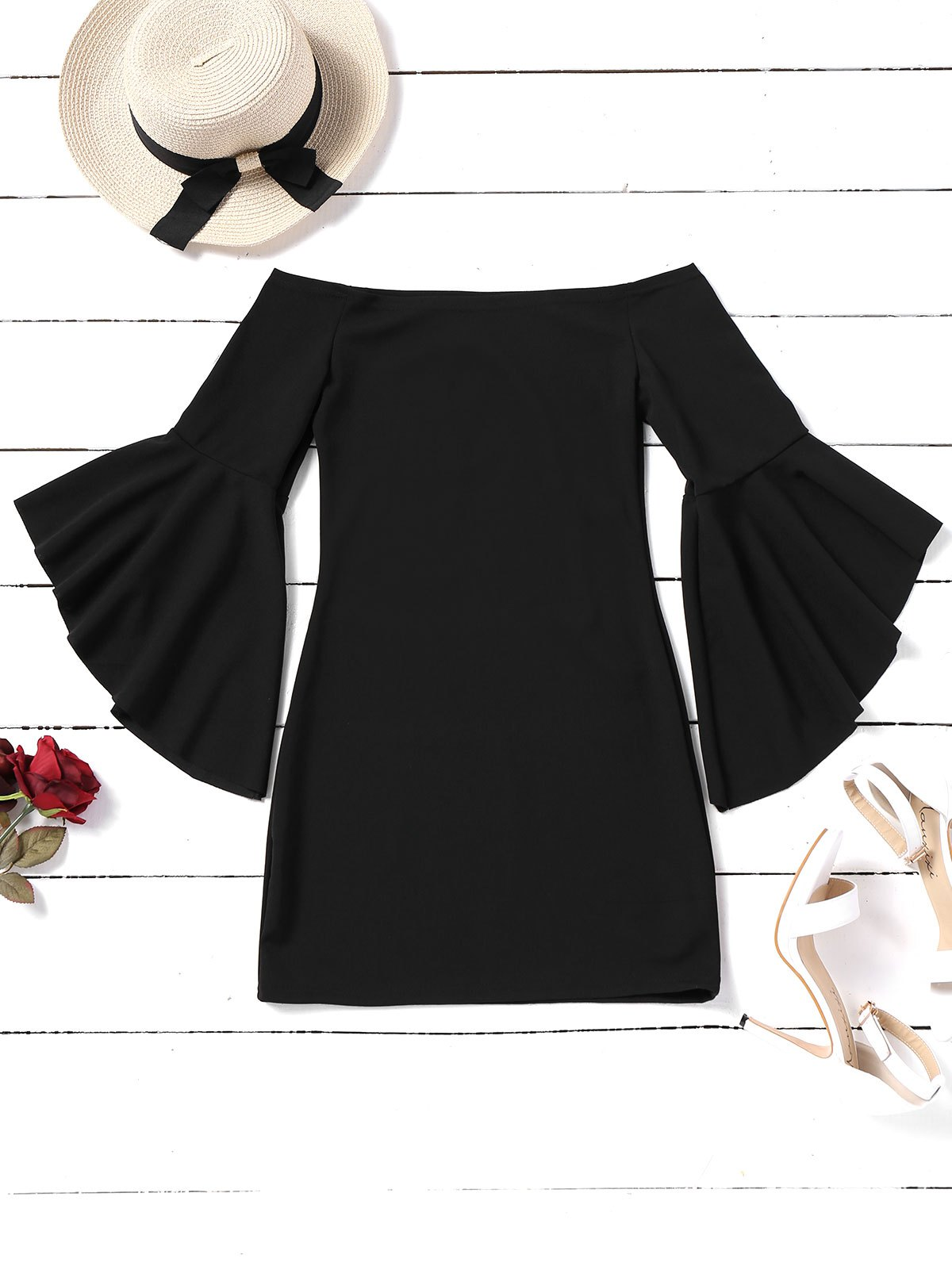 Shops Off Shoulder Flare Sleeve Mini Dress