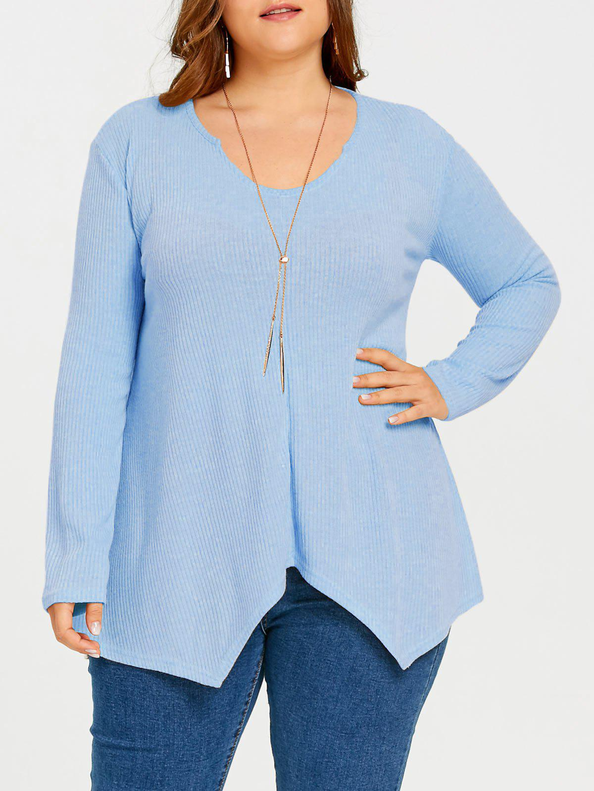 Trendy Plus Size Asymmetric Ribbed Tunic Sweater