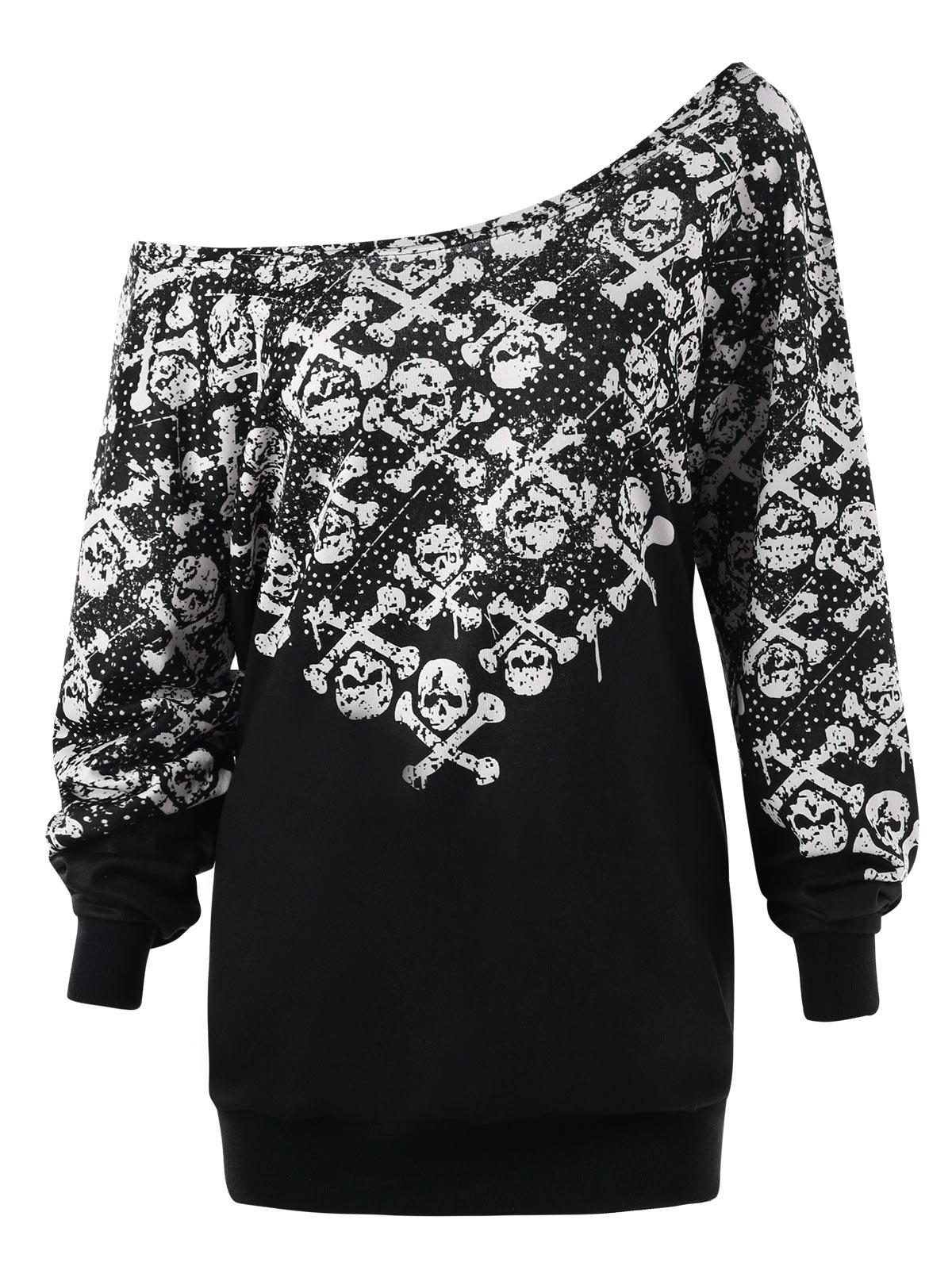 Shop Plus Size Skew Collar Skulls Sweatshirt