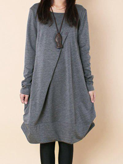 Store Button Embellished Long Sleeve Dress