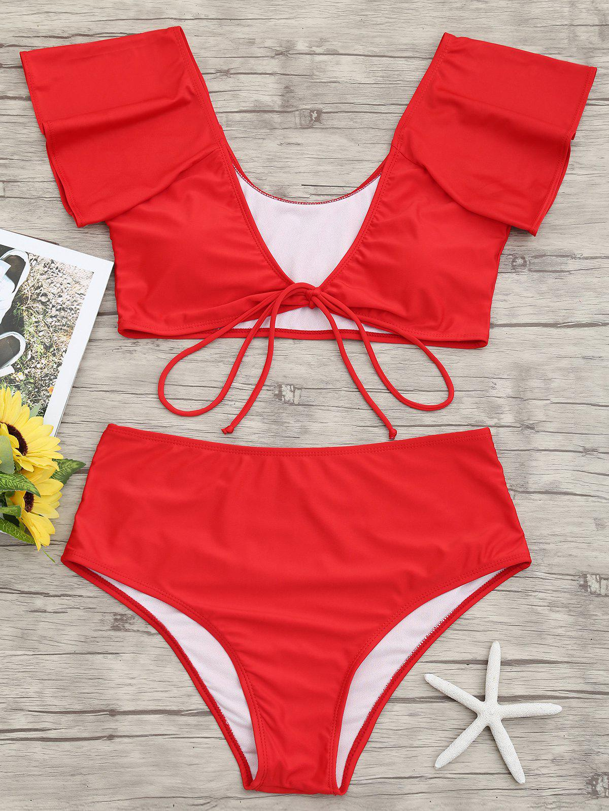 Outfits Tie Front Plunge Neck Bikini Set
