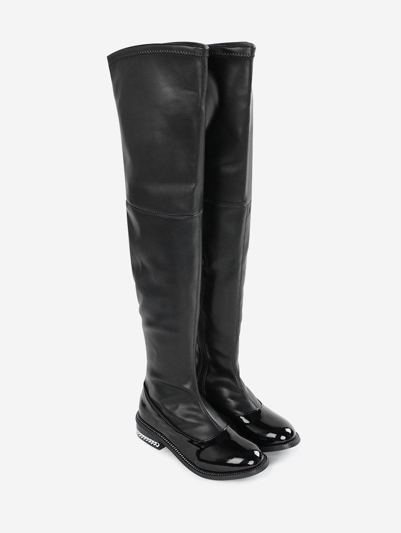 Cheap Curb Chain Embellished Over the Knee Boots