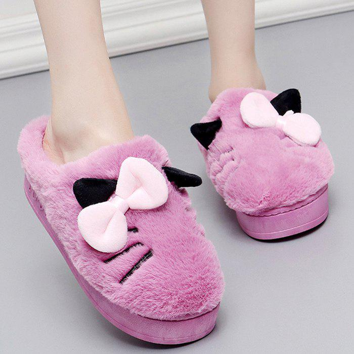 Store Fuzzy Slip-on Design Bowknot Slippers