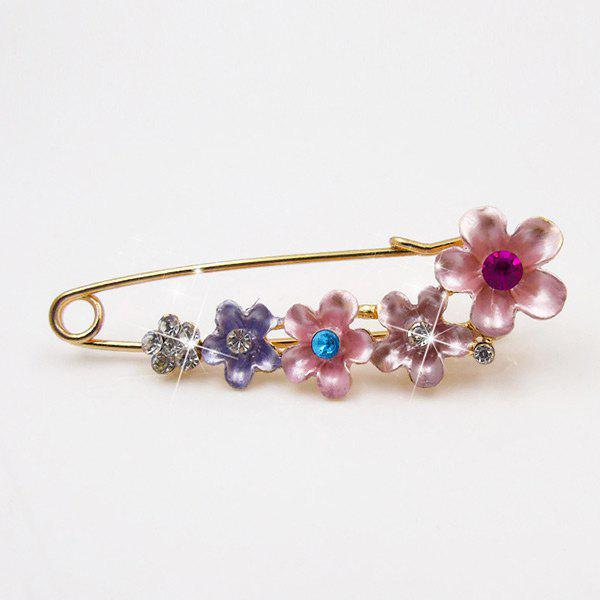 Outfit Faux Crystal Flower Decorated Brooch