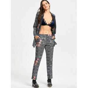 Flower Plaid Print Zipper Fly Pants -