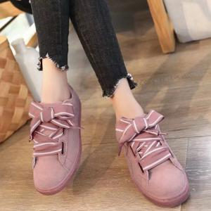 Striped Bowknot Lace Up Sneakers -