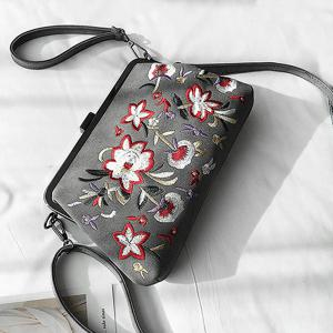 PU Leather Flower Embroidery Clutch Bag -