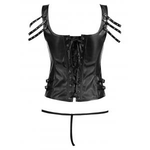 Rivet Lace-up Faux Leather Corset -