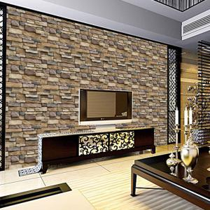 Drawing Room Background Brick Stones Printed Wall Stikcers -