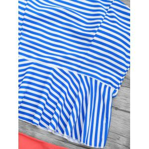 High Waist Striped Peplum Tankini Swimsuit -
