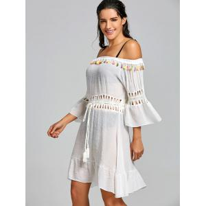 Crochet Insert Tassel Flounce Cover Up Dress -