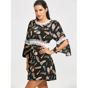 Crochet Trim Feathers Print Cover Up Dress -