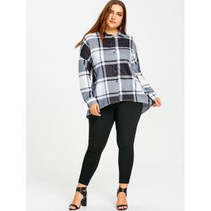 Plus Size Plaid High Low Blouse -