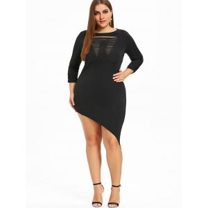 Plus Size Shredding Asymmetrical Dress -