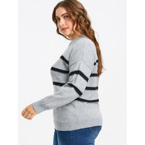 Pull Rayé à Épaules Tombantes Grande-Taille -
