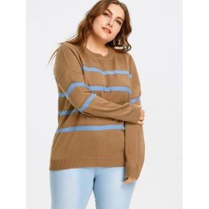 Plus Size Drop Shoulder Striped Jumper Sweater -