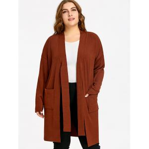 Side Slit Drop Shoulder Plus Size Knitted Coat -
