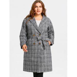 Tweed Plaid Drop Shoulder Plus Size Coat -