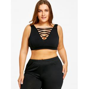 Plus Size Low Cut Criss Cross Camisole -