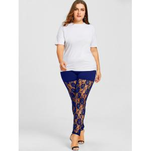 Plus Size Sheer Lace Insert Leggings -