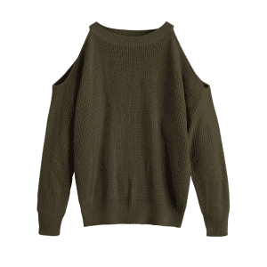 Cold Shoulder Crew Neck Pullover Sweater -