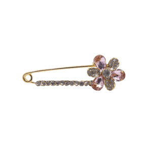 Floral False Crystal Embellished Brooch -