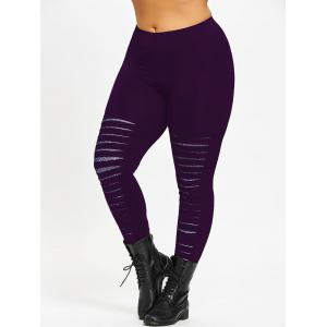 Plus Size Ripped Galaxy Leggings -