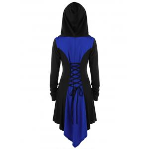 Hook Button Lace Up Hooded Coat -
