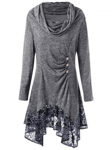 Affordable Plus Size Floral Cowl Neck Longline Top