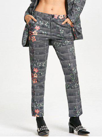 Affordable Flower Plaid Print Zipper Fly Pants