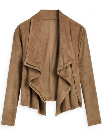 Chic Faux Suede Zipper Embellished Jacket