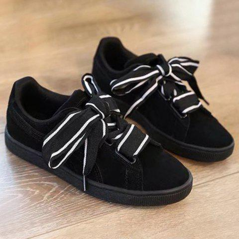 Fashion Striped Bowknot Lace Up Sneakers