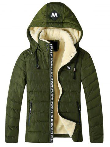 Detachable Hooded Fleece Padded Zip Up Jacket