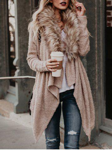 Chic Faux Fur Neck Asymmetrical Coat
