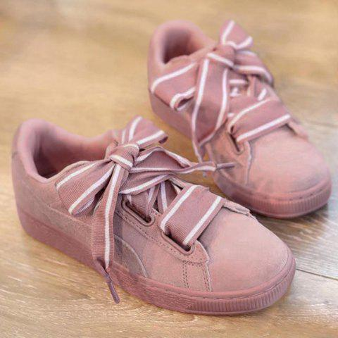 Online Striped Bowknot Lace Up Sneakers