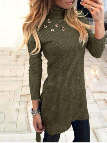 Outfit Turtleneck High Low Sweater Dress