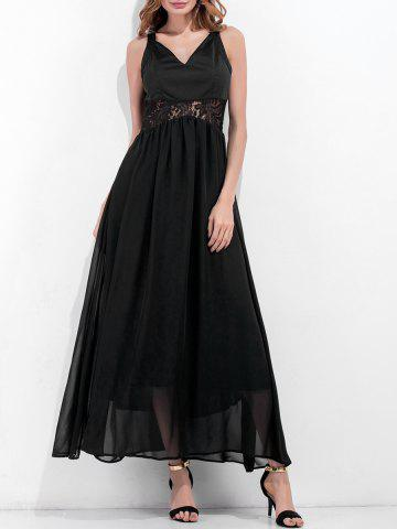 Fancy V Neck Lace Panel Chiffon Dress